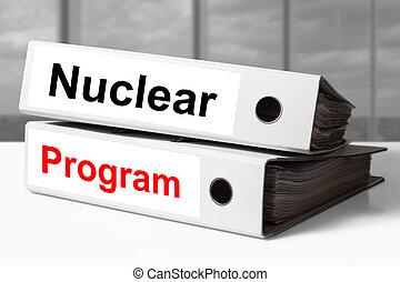 carpetas, nuclear, blanco, programa, oficina
