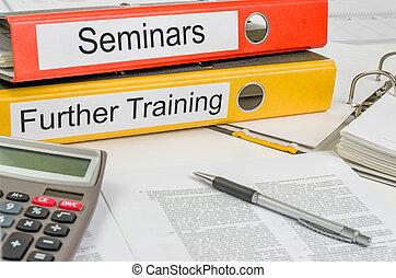 carpetas, seminarios, entrenamiento, más lejos, etiqueta