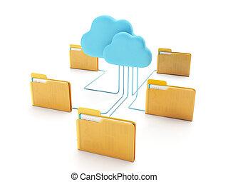 carpetas, technologies., grupo, computadora, conectado, nube