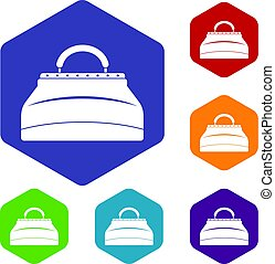 carpetbag, hexagone, ensemble, icônes