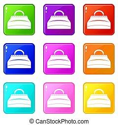 Carpetbag icons 9 set