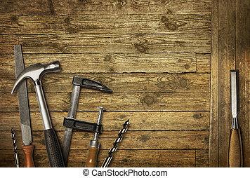 carpintaria, ferramentas, antigas, cortejar