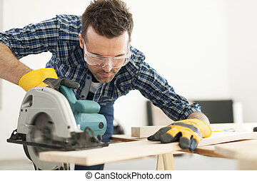 carpinteiro, corte, trabalhando, prancha madeira, difícil