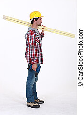 carpinteiro, ficar, perfil, segurando, régua, sobre, seu,...