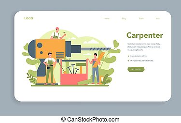 carpinteiro, ou, aterragem, conceito, teia, page., bandeira, woodworker