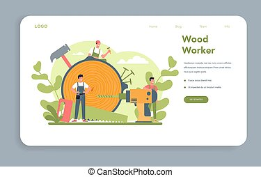 carpinteiro, ou, teia, conceito, page., woodworker, bandeira, aterragem