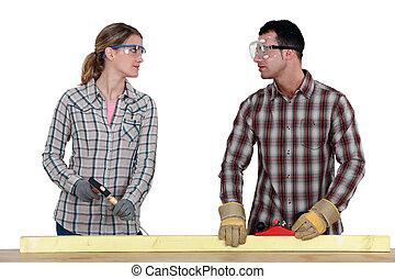 carpinteiros, fazer, contato olho