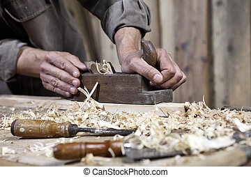 carpintería, banco de trabajo, avión, carpintero, manos