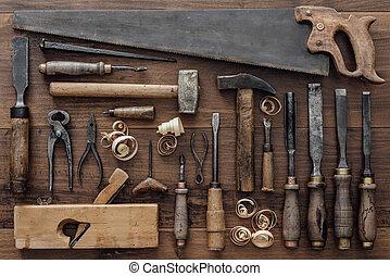 carpintería, banco de trabajo, vendimia, herramientas