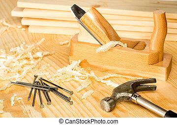 carpintería, carpentery, herramientas, variedad