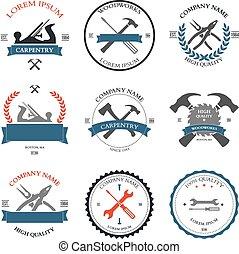 carpintería, diseño, vendimia, herramientas, etiquetas