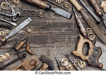 carpintería, herramientas, banco de trabajo, viejo
