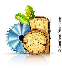 carpintería, industria, madera, con, sierra circular