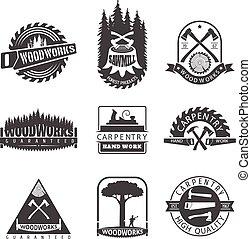 carpintería, logotipos, carpintería, aserradero, vendimia