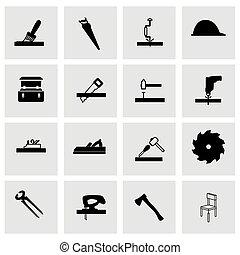 carpintería, vector, icono, conjunto