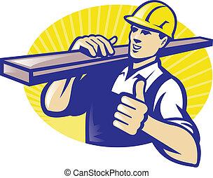 carpintero, almacén de leña, trabajador, pulgares arriba