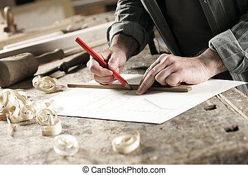 carpintero, arriba, hand's, cierre