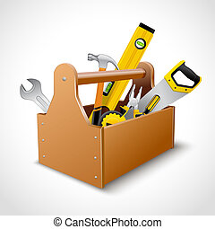carpintero, caja de herramientas, cartel