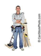 carpintero, con, materiales