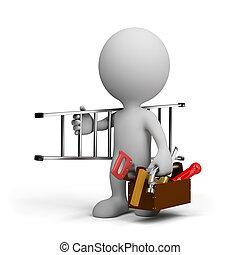 carpintero, con, un, herramienta