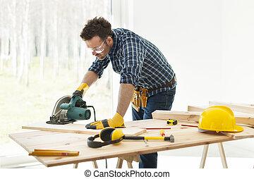 carpintero, corte, tablón, por, sierra circular