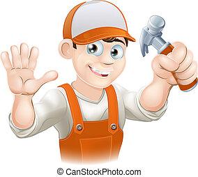 carpintero, o, constructor, con, martillo