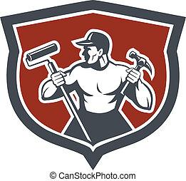 carpintero, pintor, asimiento, martillo, rodillo