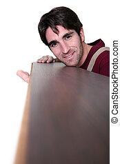 carpintero, posición, con, piso, tabla