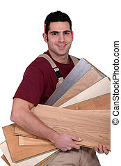 carpintero, proceso de llevar, madera contrachapada