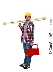 carpintero, proceso de llevar, tablones, de, madera, y, tool-box