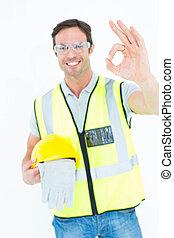 carpintero, tenencia, guantes, y, hardhat, mientras, el gesticular, aprobar
