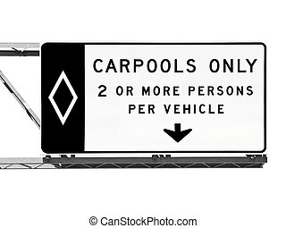 carpool , απομονωμένος , σήμα , αυτοκινητόδρομος , μόνο , ...