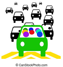 carpool commute - green vehicle with passengers in traffic ...