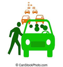 carpool economy - green bus with passengers in traffic...