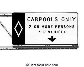 carpool, odizolowany, znak, autostrada, jedyny, na górze
