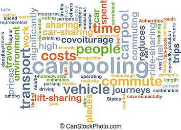 carpooling wordcloud concept illustration