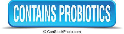 carré bleu, bouton, contient, isolé, réaliste, probiotics, ...