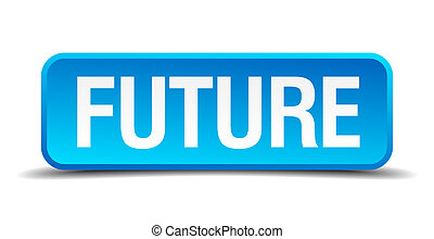 carré bleu, bouton, isolé, réaliste, avenir, 3d