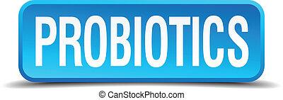 carré bleu, bouton, isolé, réaliste, probiotics, 3d