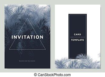 carré bleu, cadre, conception, paume, gabarit, invitation, blanc, frontière, feuilles, carte
