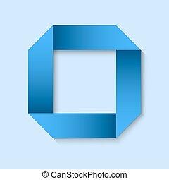 carré bleu, cadre, space., papier, origami, copie