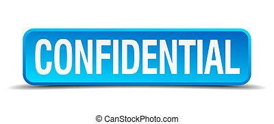 carré bleu, confidentiel, bouton, isolé, réaliste, 3d