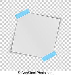 carré bleu, feuille, réaliste, isolé, transparent, project., arrière-plan., vecteur, papier, gabarit, blanc, tape., écossais, ton