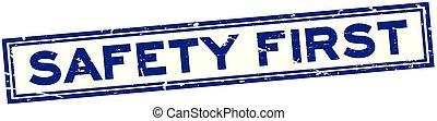 carré bleu, grunge, timbre, caoutchouc, sécurité, fond, cachet, mot, blanc, premier