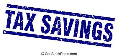 carré bleu, grunge, timbre, impôt, économies