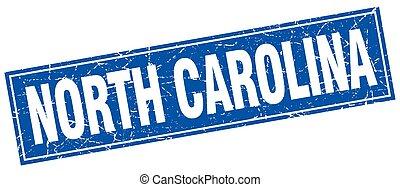 carré bleu, grunge, timbre, vendange, isolé, caroline nord