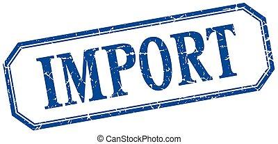 carré bleu, grunge, vendange, isolé, étiquette, importation