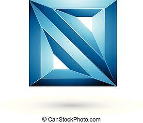 carré bleu, illustration, forme géométrique, vecteur, gaufré, triangles, 3d