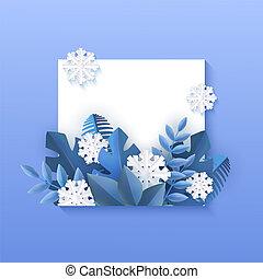 carré bleu, naturel, hiver, snowflakes., feuilles, illustration, forme, vecteur, blanc, bannière