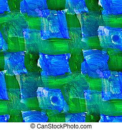 carré bleu, taches, seamless, aquarelle, clair, coups ...